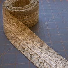 Beige and Ivory Burlap with Lace Ribbon  2 inch by cherrycheckers, $12.00