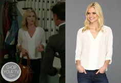 Claire Dunphy (Julie Bowen) wears this flowy 100% silk top with pleated detail in this week's episode of Modern Family.