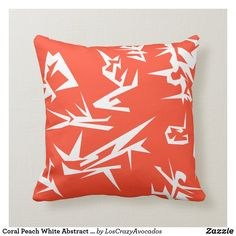 Coral Peach White Abstract Art Cushion Pillow