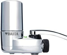 Brita 10060258356189 35618 Tap Water Filtration System (Fits Standard Faucets, Single Unit, Chrome w/Indicator.  REDUCES LEAD: Water filter system filters out 60 contaminants such as 99% lead, chlorine (taste and odor), benzene and asbestos contaminants that may be found in tap water. Substances reduced may not be in all users' water ... Brita Water Filter, Water Filters, Countertop Water Filter, Filter Bottle, Best Faucet, Filtered Water Bottle, Water Bottles