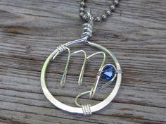 Virgo Zodiac Symbol Pendant with blue by RockKandyJewelry on Etsy