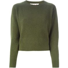 Marni Crew Neck Sweater (945 CAD) ❤ liked on Polyvore featuring tops, sweaters, shirts, green, cuff shirts, green top, crewneck sweater, long sleeve crew neck shirts and crew neck shirts