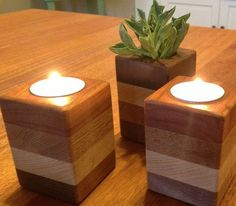 stacked wood tealight holders from Houzz article on scrap wood decorations