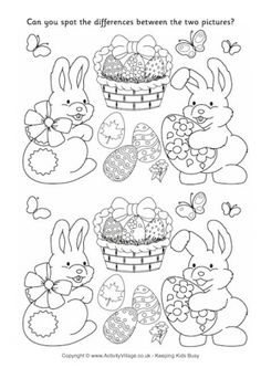Easter Spot the Difference 2 Easter Puzzles, Easter Worksheets, Worksheets For Kids, Math Worksheets, Easter Games, Easter Activities, Activities For Kids, Crafts For Kids, Daycare Crafts