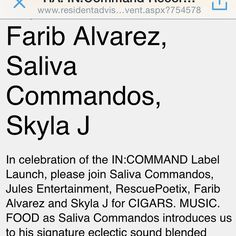 @resident_advisor #beincommand   @salivacommandos @farib1127 @mamajuanabronx @arthuravenuecigars #skylaj  http://www.residentadvisor.net/event.aspx?754578