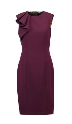 Burgundy frill shoulder sheath dress   Ted Baker
