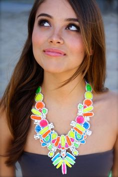 Neon Statement Necklace Tribal Punk as seen on by DolorisPetunia, $405.00