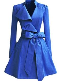 Art Irregular Lapel Blue Trench Coat my-style Pastel Outfit, Blue Trench Coat, Pea Coat, Look Fashion, Womens Fashion, Young Fashion, Fashion Clothes, Blue Coats, Latest Street Fashion