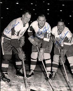 the production line <3..Gordie Howe, Sid Abel, and Ted Lindsey... Detroit Red Wings.