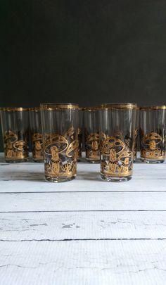Culver Gold Mushroom Glasses/ Mid Century by VintageBrassRevival