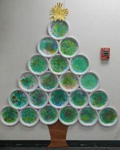 Cómo hacer árbol de navidad de pared con platos de papel usados