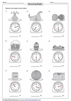 Measuring Kitchen Scale Measuring Weight Worksheets Easy to Hard