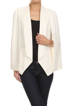 Lightweight Cape Style Blazer with Open Front and Slit Sleeves (Off White)