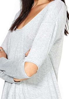 Light Grey Patchwork Hollow-out Wrap Dacron T-Shirt - T-Shirts - Tops