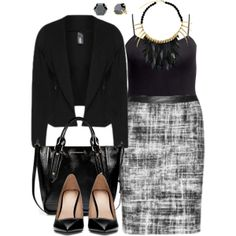 """#plussize #plus #size #outfit """"Monochromatic - Plus Size"""" by alexawebb on Polyvore"""