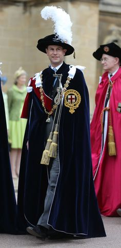Prince Edward, Earl of Wessex joins members of the royal family and Knights Garter on a procession from the Castle to St Georges Chapel for the annual service in the annual Garter Ceremony at Windsor Castle on 17 June 2013