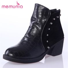 MEMUNIA Rivets large size neutral mature women boots pu soft leather round toe ankle boots square low heels winter boots