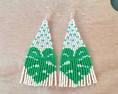 Check out our seed beaded earrings selection for the very best in unique or custom, handmade pieces from our dangle & drop earrings shops. Seed Bead Jewelry, Seed Bead Earrings, Diy Earrings, Seed Beads, Beaded Jewelry, Beaded Earrings Patterns, Seed Bead Patterns, Jewelry Patterns, Beading Patterns