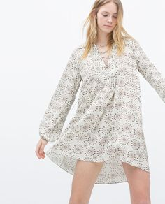 EYELET GATHERED PRINTED DRESS from Zara