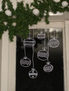 chalk drawing winter on window - Google Search