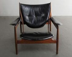 Finn Juhl, // Baker // 'Chieftain Chair', ca. 1950 // This remarkable example of Baker's earliest version of the Chieftain chair is exquisite. The only way to tell the difference between the Baker chair and a Vodder chair is a discrete bushing on the reverse side of the chair, and a subtle step in a joint of on the backside. Other than that, it's extremely hard to see the difference. Amazing example.