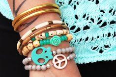bracelet, armswag, skull, peace, mint, turquoise, baan, gold, jonc