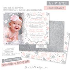 Winter ONEderland Invitation Girl Photo Card  by SprinkledDesign