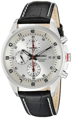 Shop a great selection of Seiko Men's Leather Synthetic Analog White Dial Watch. Find new offer and Similar products for Seiko Men's Leather Synthetic Analog White Dial Watch. Fossil Watches, Seiko Watches, Cool Watches, Watches For Men, Popular Watches, Casual Watches, Wrist Watches, Silver Pocket Watch, Seiko Men