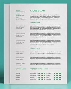 Modern Resume Template For Microsoft Word The Adam Kadmon Design