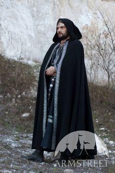 Medieval Wool Hooded Black Cloak Raven par armstreet sur Etsy, $140,00