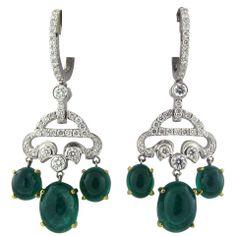 SEAMAN SCHEPPS Gold Diamond Emerald Earrings