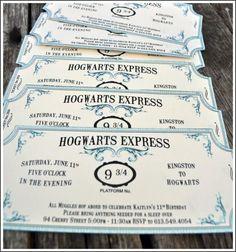 convite Harry Potter modelo de passagem de trem