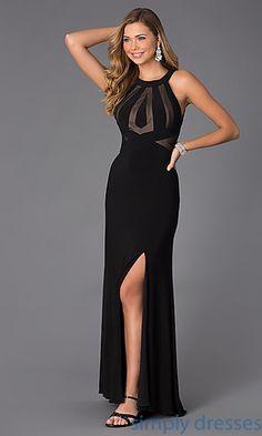 Floor Length Sleeveless Black Dress at SimplyDresses.com