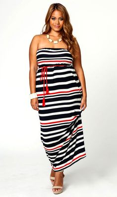 Not all nautical fashion is navy and white. Here's a cute striped maxi with a red rope belt.