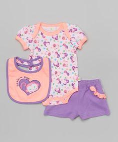 Look what I found on #zulily! Duck Duck Goose Purple & Pink 'Peek A Boo' Monkey Bodysuit Set by Duck Duck Goose #zulilyfinds