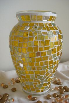 Yellow mosaic vase with white grout. Ready to Ship The Peony Star mosaic vase  yellow by Kellybean607, $70.00