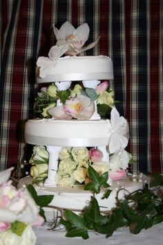 The wedding cake was filled with fresh flowers as decoration by Mrs Hannah Warburton