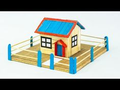 How to make crafts with ice cream sticks - Popsicle stick house tutorial - - YouTube