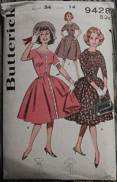Butterick 9428  1960s 60s Full Skirt by EleanorMeriwether on Etsy