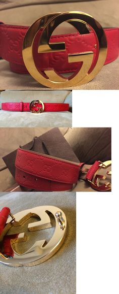 Belts 2993: Nwt Authentic Red Guccissima Belt 90Cm, 30 32 Waist ->