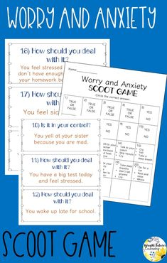 This worry and anxiety scoot game is a great way to get students up and moving! Students will learn to identify what they can and cannot control, how to deal with stressful situations, and coping strategies to ease worries, stress, and anxiety. Elementary School Counselor, School Counseling, Elementary Schools, Group Counseling, Ways To Reduce Stress, How To Relieve Stress, Bullying Prevention, Anxiety In Children, Social Emotional Learning