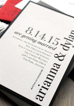 Urban Elegance - Modern Wedding Invitations, Elegant, Black and White, City Chic, Gray, Red  - Sample. $4.50, via Etsy.