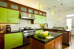 Lime Green Kitchen with Craftsman Style - Dura Supreme Cabinetry