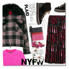 """""""NYFW Trend Spotting: Plaid"""" by ilona-828 ❤ liked on Polyvore featuring Moncler Gamme Rouge, Valentino, Burberry, Balenciaga, See by Chloé, Conair, contestentry, polyvoreeditorial and NYFWPlaid"""