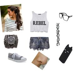 Badass? by raquelsday on Polyvore featuring polyvore, fashion, style, Forever 21, GUESS, Aéropostale, Sara Designs and Barbed