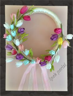 Ribbon wreath silk cacoon handmade colorful tulips (model no: 002) by ipekperisi on Etsy