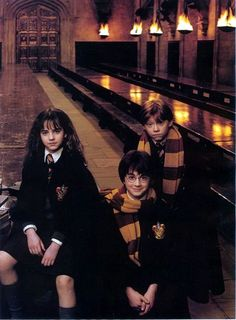 Emma Watson, Daniel Radcliffe and Rupert Grint photographed by Annie Leibovitz for Vanity Fair, 2001.