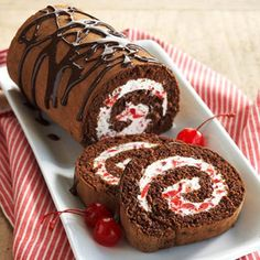 The cake roll's luscious filling is made with light cream cheese, light whipped topping, and maraschino cherries. Desserts, Black Forests, Chocolates Cake, Cake Recipe, Cake Rolls, Diabetic Living, Sweets, Forests Cake, Diabetes Living
