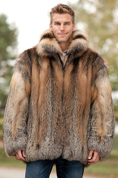 Fabulously furry in big bomber style, the Embassy is for those who love being warm and noticed, in our Canadian cross fox fur with natural tonal variations. I love this jacket it's so RR. Man's Overcoat, Mens Fur, Fox Fur Coat, Vintage Fur, Sharp Dressed Man, Fur Collars, Men Dress, Mens Fashion, My Style