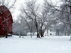 Red barn and new snow. So pretty Snow Pictures, Love Pictures, Winter Road, Winter Snow, Country Barns, Country Life, Southern Christmas, Garden Gates, Vintage Farmhouse